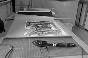 Dry mounting photographs Preparing a fibre base print for dry mount press