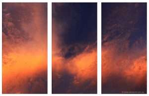 clouds sunset triptych